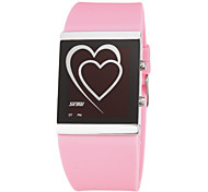 cheap -Women's Digital Wrist Watch LED Silicone Band Heart shape Fashion Black White Blue Pink Rose