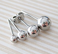 cheap -Men's Women's Ball Stainless Steel Stud Earrings - Silver 6 Earrings For Casual