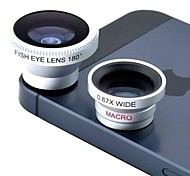 cheap -Magnetic 3 in 1 Wide Angle lens /Macro lens/180 Fish Eye Lens/ Kit Set for iPhone 5 /4 /iPad /Cellphone