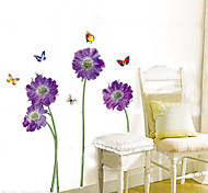 cheap -1PCS Colorful Butterflies over Flowers Enviromental Wall Sticker