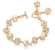Exquisite Top Quality Rhinestone 18k White/Yellow Gold Plated Use Shinning Austria Crystal Cube Chain Bracelet