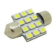 31mm 1W 12x3528 SMD 50lm 5500~6500K White Light LED Bulb for Car Festoon Dome Reading Lamp (DC 12V)