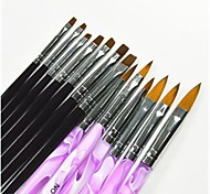 13 PCS Black & Purple Color Painting Drawing Nail Art Pen & Brushes Set for Manicure UV Gel & False Tips Acrylic