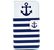The Ship Anchor with Stripes Pattern PU Leather Full Body case for iPhone 4/4S