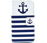 Die Schiffsanker mit Streifenmuster PU-Leder Ganzkörper-Case für iPhone 4 / 4S