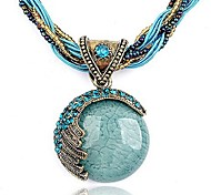 cheap -Women's Bohemian Turquoise Crystal Rhinestone Resin Pendant Necklace - Bohemian Fashion European Round Necklace For Party Birthday Gift