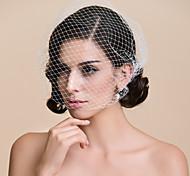 Недорогие -Свадебные вуали Один слой Короткая фата Фата клетки птицы Обрезанная кромка 10-20 см Тюль БелыйПлатье-трапеция, бальное платье,