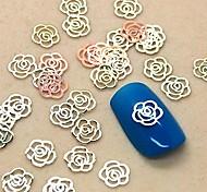 200шт полая форма цветка золотой металл ломтик украшение искусства ногтя