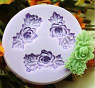 Three Flower Baking Fondant Cake Choclate Candy Mold,L6.1cm*W5.9cm*H0.9cm