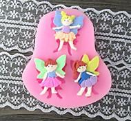 три девушка с крылом выпечки помадка прессформы торта, l7.4cm * w6.7m * h1cm