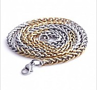 Men's Fashion All Match Gold And Silver Titanium Steel Chain Necklace