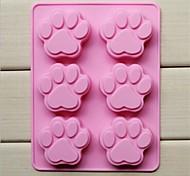 Недорогие -Форма лапы торт льда желе шоколадные формы 6 отверстий кошки, силиконовые 18,5 × 14,1 × 1,6 см (7,3 × 5,6 × 0,6 дюйма)