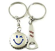 (A pair)Bottle Opener and Cap Interesting High-grade Stainless Steel Keychain Symbol of Love