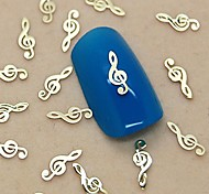 200шт музыкальное оформление примечание золотой металл ломтик ногтей украшения