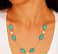cheap -Pearl Pendant Necklace - European Blue Necklace For Party Daily Casual