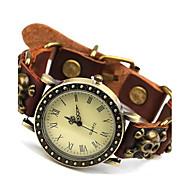 baratos -Homens Quartzo Relógio Elegante Relógio Casual Couro Banda Amuleto Marrom
