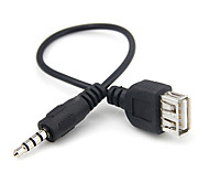 yongwei 0.15m 0.5ft 3.5mm usb female to male aux mp3 audio cable