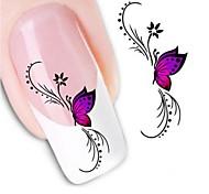 preiswerte -1pcs Wasser Transfer Aufkleber 3D Nagel Sticker Nagel Stamping Vorlage Alltag Blume Modisch Hochzeit Gute Qualität