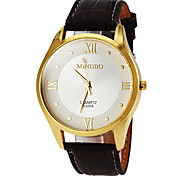 Masculino Relógio Elegante Quartzo Couro Banda Preta Marrom Preto Marron