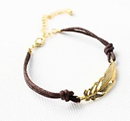 cheap -Women's Leather Leaf Charm Bracelet - Personalized Unique Design Basic Leaf Brown/Gold Bracelet For Christmas Gifts Daily Casual