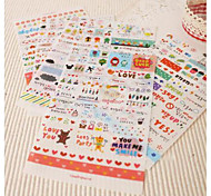 6 Sheets Creative  Life Drawing Sticker Set  Pvc Wall Stickers