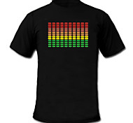 cheap -Sound and Music Activated Spectrum VU Meter EL Visualizer LED T-shirt (2*AAA)