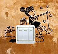 Недорогие -Люди Наклейки Простые наклейки Наклейки для выключателя света, Винил Украшение дома Наклейка на стену Стена