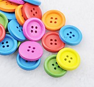 Soild Color Scrapbook Scraft Sewing DIY Wooden Buttons(10 PCS Random Color)