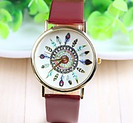 cheap -Women's Quartz Wrist Watch Hot Sale PU Band Flower Casual Fashion Black White Brown