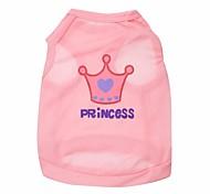 cheap -Cat Dog Shirt / T-Shirt Dog Clothes Tiaras & Crowns Rose Pink Terylene Costume For Pets
