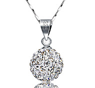cheap -Women's Ball Basic Fashion Pendant Necklace Sterling Silver Rhinestone Pendant Necklace , Daily Casual Office & Career