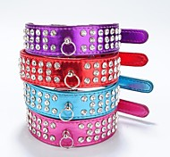 Dog Collar Reflective Rhinestone PU Leather Purple Rose Red