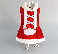 Недорогие -Кошка Собака Платья Одежда для собак Свадьба Рождество Красный Костюм Для домашних животных