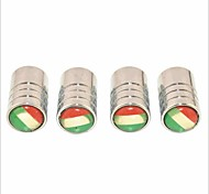 cheap -DIY Italian Flag Pattern Universal Tire Air Valve Caps--Silver(4PCS)