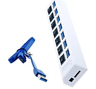 baratos -hub USB ​​7 portas 3.0 com interruptores individuais e leds para macbook air, tablet pc (cores sortidas)
