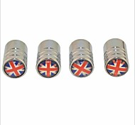 cheap -DIY British Flag Pattern Universal Tire Air Valve Caps--Silver(4PCS)