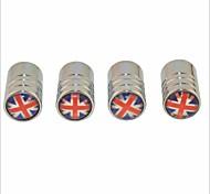 DIY British Flag Pattern Universal Tire Air Valve Caps--Silver(4PCS)