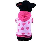 Недорогие -Собака Толстовки Пижамы Одежда для собак С сердцем Красный Синий Флис Хлопок Костюм Для домашних животных Муж. Жен. Очаровательный На