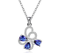 Elegant Style 925 Sterling Silver Jewelry Butterfly with Sapphire Pendant Necklace for Women