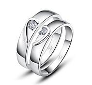 Недорогие -персональный подарок просто стерлингового серебра 925 пробы пары кольца