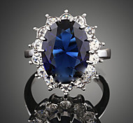 cheap -Women's Statement Ring Crystal Synthetic Sapphire Dark Blue Synthetic Gemstones Cubic Zirconia Alloy Fashion Party Costume Jewelry