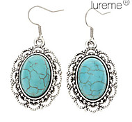 Lureme®Vintage Oval Green Turquoise Drop Earrings