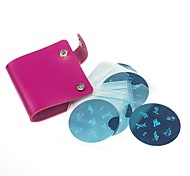 13 Double-side Nail Stamping Template Plates Synthetic Leather Folder/Holders(26 Slots)(Assorted Colors)