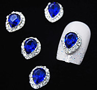 10pcs  Sapphire Crystal With Rhinestone Line Alloy Water Drop Finger Tips Nail Art Decoration