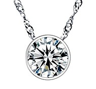 cheap -Women's Sterling Silver Cubic Zirconia Silver Imitation Diamond Pendant Necklace - Fashion Circle Geometric Silver Necklace For Wedding