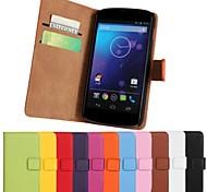 сплошной цвет натуральной кожи всего тела с подставкой и слот для карт памяти для LG E960 / связь 4 (разные цвета)