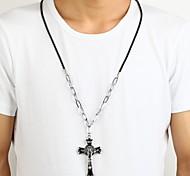 Jesus Zinc Alloy Black Silver Crucifix Cross Pendant Necklace Christmas Gifts