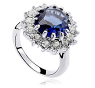 Statement Rings Crystal Zircon Cubic Zirconia Alloy Fashion Dark Blue Jewelry Party 1pc