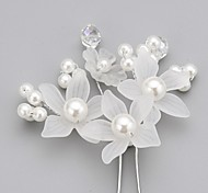 cheap -Crystal Imitation Pearl Acrylic Fabric Alloy Tiaras Hair Pin 1 Wedding Special Occasion Party / Evening Headpiece