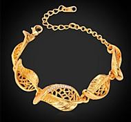 Недорогие -u7®cute оставляет Rhinestone браслет 18k реальное Позолоченные ссылка браслет ювелирных изделий браслет для мужчин / женщин